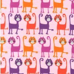 DANCING CATS ON COTTON FLANNEL