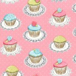 QUAINT CUPCAKES ON FLANNEL GLITTER