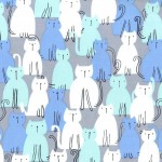 HERE KITTY KITTY on cotton flannel