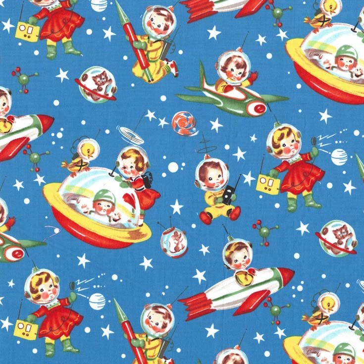 Cx1253 retro rocket rascals children kids playful space for Kids space fabric