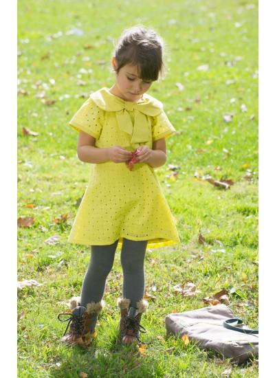 Eyelet Kids Dress - Citron