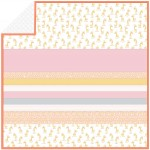 Bashful Giraffe - Salmon - Minky Strip Quilt /58x58""