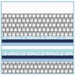 Bunny Bunch Gray -MINKY Strip Quilt /58x58""