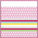 Bunny Bunch Pink -MINKY Strip Quilt /58x58""