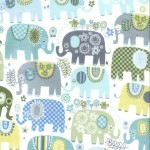 HAPPY ELEPHANTS on cotton flannel
