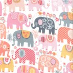 HAPPY ELEPHANTS on cotton flannel
