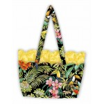 """scalloped tote - exotica by poorhouse quilt design /16""""x11.2x3"""""""