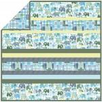 """Happy Elephants Blue - Minky Strip Quilt  /58""""x58"""""""