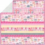 """Happy Elephants Pink - Minky Strip Quilt    /58""""x58"""""""