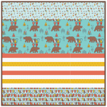 "Kodiak Bear Aqua - Strip Quilt /58""x58"""