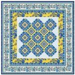 "Provencial La Fleur Tiles Fuzzy Cut Border Blue Quilt by Diane Nagle /48""x48"" - Instructions coming soon"