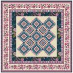 """Provencial La Fleur Tiles Fuzzy Cut Border Taupe Quilt by Diane Nagle /48""""x48"""""""