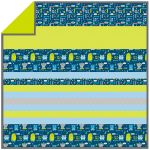 Monsters Navy-MINKY Strip Quilt /58x58""