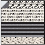 "Origami Forest Black - MINKY Strip Quilt /58""x58"""