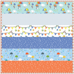Puddle Play Periwinkle - MINKY Strip Quilt /58x58""