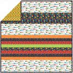 Rat Race primary - minky strip Quilt /58x58""
