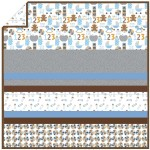 Rocking Horse Blue - Minky Strip Quilt /58x58""