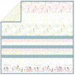 "White Magical Parade - Strip Quilt / 58""x58"""