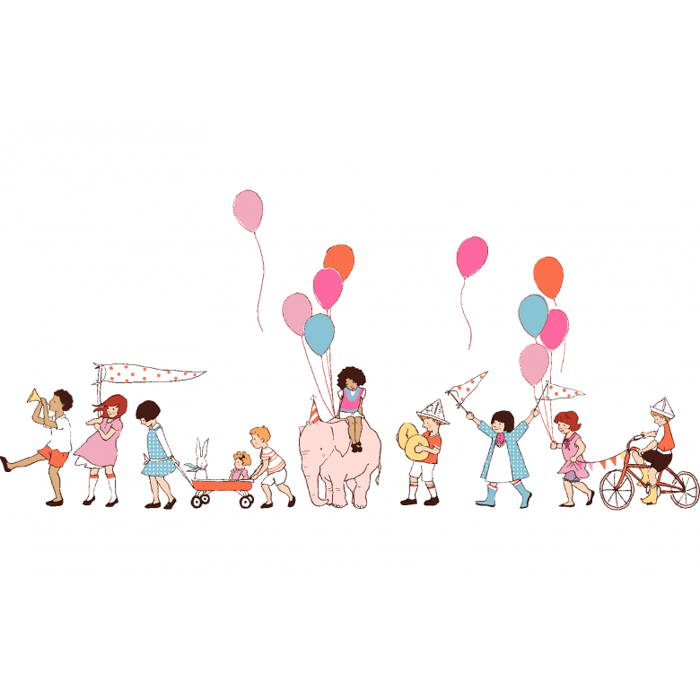 Dc5140 On Parade Multi Cream Baloons Kids Bicyckles Party
