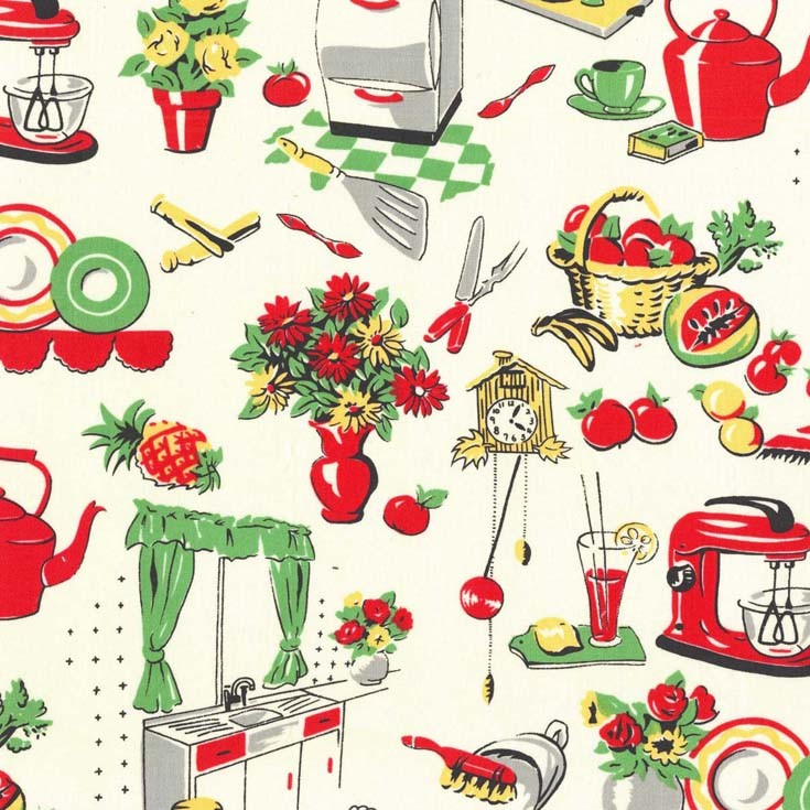 Cx1595 Fifties Kitchen Cream Retro Michael Miller