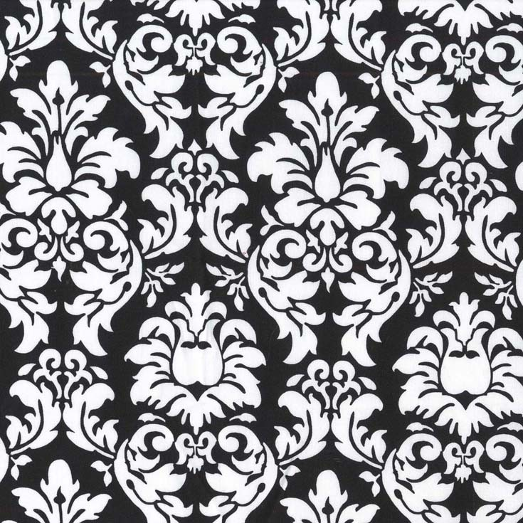 Cx3095 Dandy Damask Wallpaper Black Onyx Ebony And White