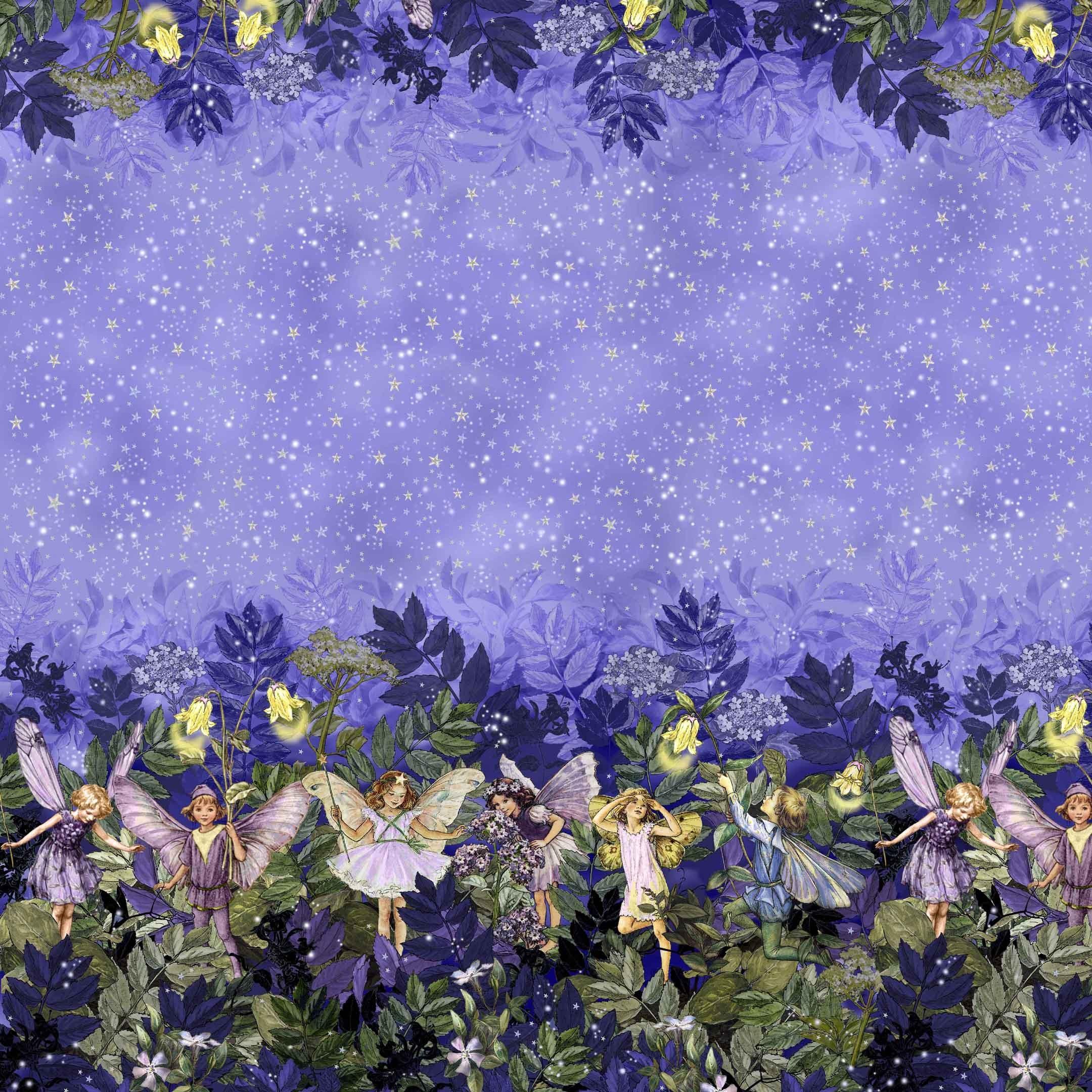 Dm5048 Night Fairies Border Nite Night Flower Fairies