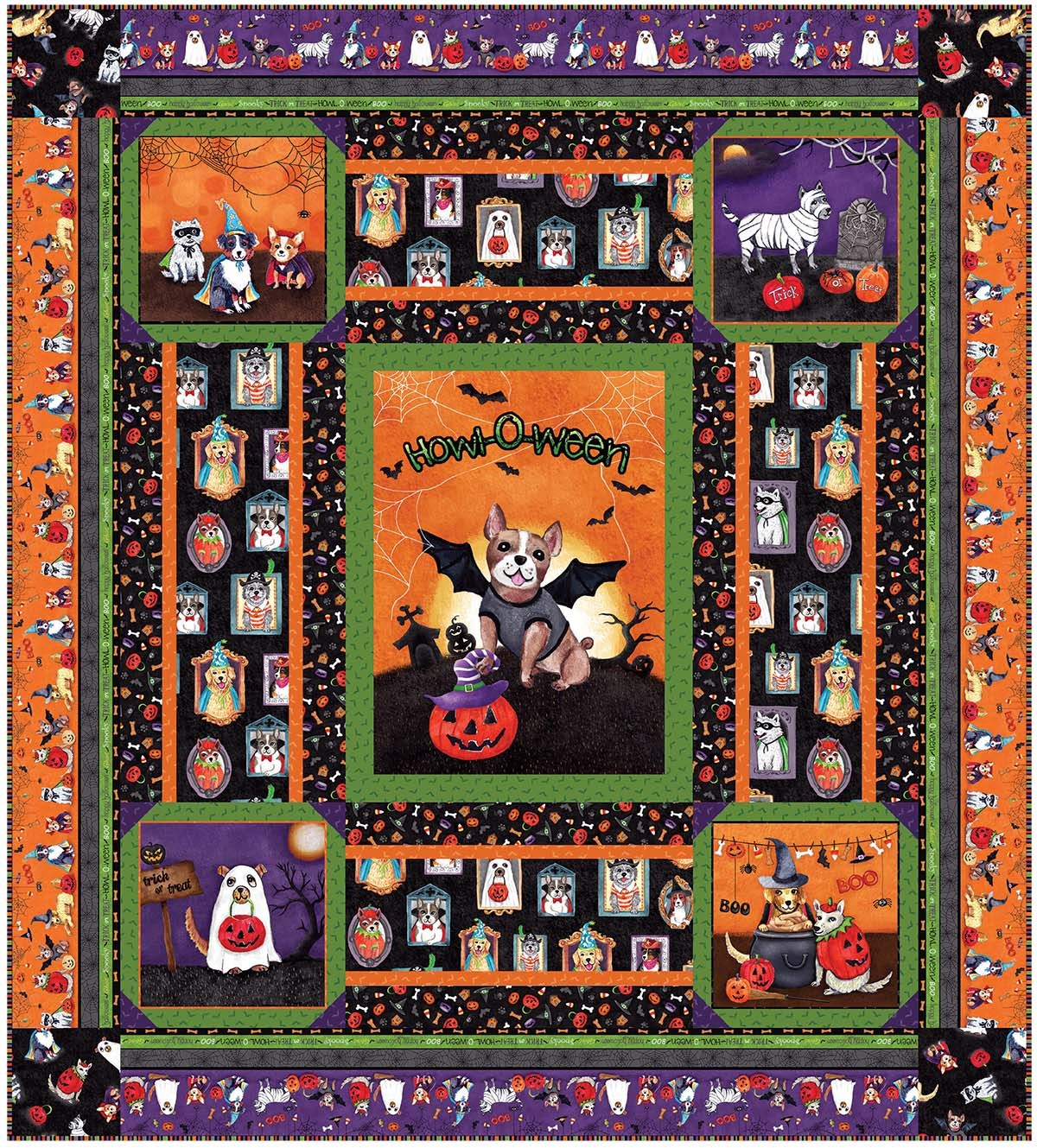 """""""Howl-o-Ween"""" Free Halloween Quilt Pattern designed by Heidi Pridemore from Michael Miller Fabrics"""