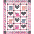 Hipster Kitties - Pink Quilt by Heidi Pridemore /46x57""