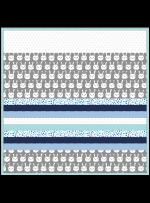 """Minky Bunny Bunch Gray -Strip Quilt /58x58"""""""