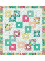 """Chain Reaction Colorful Cottage Quilt by Swirly Girls Design - 60""""x66"""""""