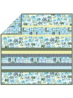 "Happy Elephants Blue - Minky Strip Quilt  /58""x58"""