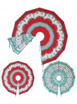 "Holiday Frivoliday reversible Christmas Tree Skirt by Marinda Stewart /60"" Diameter"