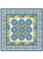 "Provencial La Fleur Tiles Fuzzy Cut Border Blue Quilt by Diane Nagle /48""x48"" - Instructions coming soon"
