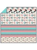 "Origami Forest Aqua - MINKY Strip Quilt /58""x58"""