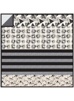 "Origami Forest Black - MINKY Strip Quilt /58""x58"""