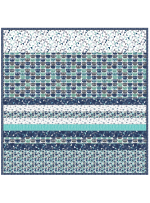 Sassy Cats Blue -MINKY Strip Quilt /58x58""
