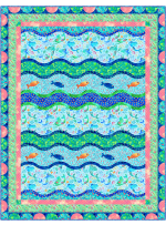 """Making Waves - Sea Maidens Quilt by Marsha Evans Moore 53""""x68.5"""" - Free Pattern Available in April, 2022"""