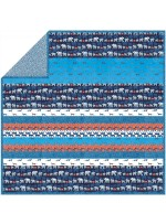 Trekking Orange Azure - Minky Strip Quilt /58x58""
