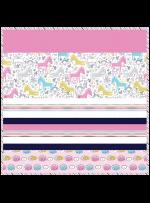 """Unicorn Doodle - Strip Quilt /58""""x58"""""""