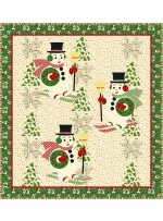 """Holly Jolly Snowmen - Vintage Christmas Quilt by Coach House Designs 51""""x55"""""""