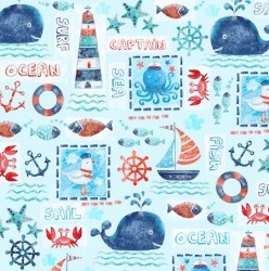 SEA ADVENTURE PATCHWORKon MINKY