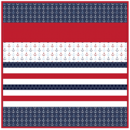 Anchors Away -MINKY Strip Quilt /58x58""