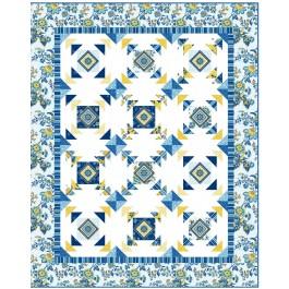 "Provencial April in Paris Blue Quilt by Heidi Pridemore /57.5""x71.5"""