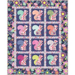 """Beau the Squirrel Quilt  by everyday stitches / 41""""x51"""""""