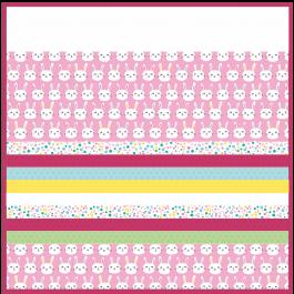 "Bunny Bunch Pink -MINKY Strip Quilt /58x58"""