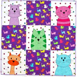 Cat Time Checkerboard Baby Quilt by Wendy Gratz from Shiny happy World