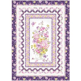 """Delicate Beauty Lilac Quilt by Wendy Sheppard /52""""x72"""""""