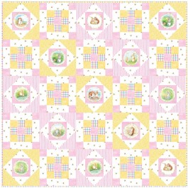 """Hop Along - Pink Quilt by Susan Emory /50""""x50"""""""