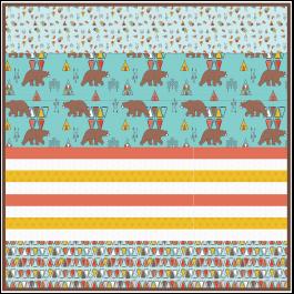 "Kodiak Bear Aqua - Strip Quilt /58""x58"""