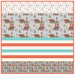 "Kodiak Bear Grey - Strip Quilt /58""x58"""